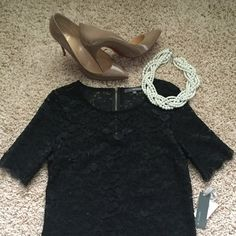 NWT Classic Black Lace Top New with tags black lace top. Perfect layering piece. Can be worn dressed up or down!                                Bundle & save 15%! Nordstrom Tops
