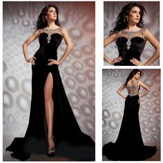 New Arrive Beaded Sheer Neck Split Front Sexy Evening Gown Black Velvet Evening Dress