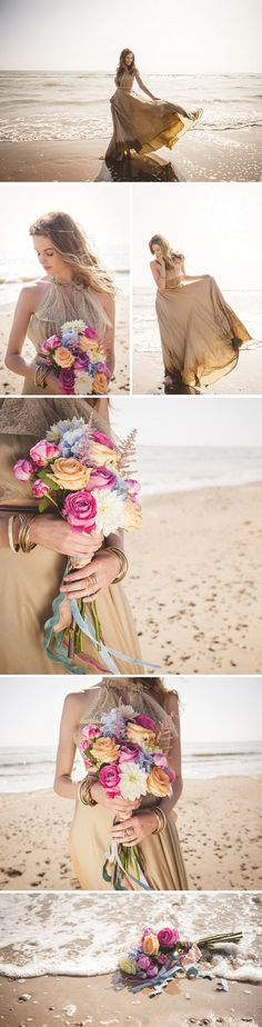 Styled Shoot – The beach festival - Beach inspired cake by Sylvia's Kitchen, peach and coral ombre with gold leaf finish and rice paper flower
