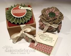 Stampin' Up! Deck the Halls Fabric, Great Gift idea with Jar fillled with Hot Chocolate!