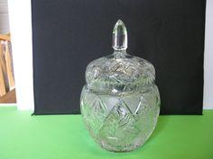 Elegant Pressed Glass Crystal Pinwheel Biscuit Barrel or Cookie Jar #teamsellit