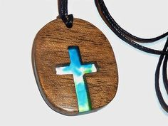 Wood and resin cross necklace Religion jewelry Small wood