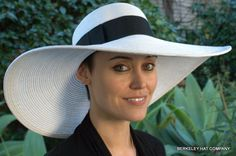 Wide Brim Straw Picture Hat, White, make the black green