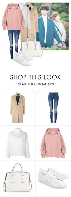 """Kdrama inspired outfit: ""Weightlifting Fairy: Kim Bok Joo"""" by justanothergirl-99 on Polyvore featuring moda, mel, WithChic, Cédric Charlier, French Connection y adidas Originals"