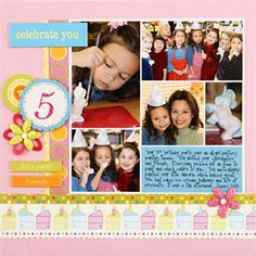 One-Page Collage Scrapbook Layouts: Frame the Photo Collage First Birthday Crafts, Birthday Craft Gifts, Birthday Book, Birthday Scrapbook Layouts, Scrapbook Sketches, Scrapbooking Layouts, Scrapbook Paper Crafts, Scrapbook Cards, Free Photo Collage Templates