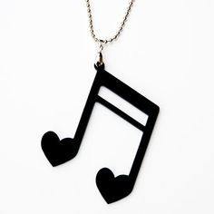 Black Heart Music Note Acrylic Necklace by urbancookieUK on Etsy, £6.00