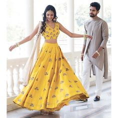 yellow banglori silk multi dori and mirror work ceremonial lehenga