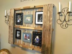 Pallet projects// If this was White Washed and the frames in beach colors, this would be soooo cute in a beach house!