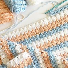 Look how lovely this stitch is! Beautiful work by @daisyfarmcrafts What would you name this stitch? It's 3dc with 3dctog stacked on top of each other, making it look triangular. • • #ilovecrochet #crochetersofinstagram #crocheting #crochet #caronsimplysoft #yarnspirations #crochetbabyblanket #grannysquare #makersgonnamake #crochetlover #peachandblue #makersmovement #crochetlove