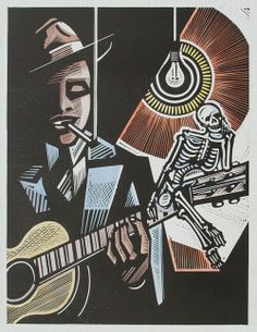 Robert Johnson, - Relief-block print (hand-colored), The Alcorn Studio & Gallery Robert Johnson, Papa Legba, Delta Blues, Blue Artwork, Music Artwork, Jazz Club, Mississippi, Musik Illustration, Carnal