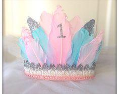 Hermosa 1er cumpleaños corona de plumas corona diadema de