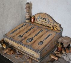 Купить CAFE FRANCAIS короб для приборов - коричневый, цвет дерева, короб для хранения, короб для кухни