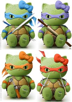 TMNT + hello kitty= pure awesomeness  i have to pin this to show my niece< she would think this is super cool!