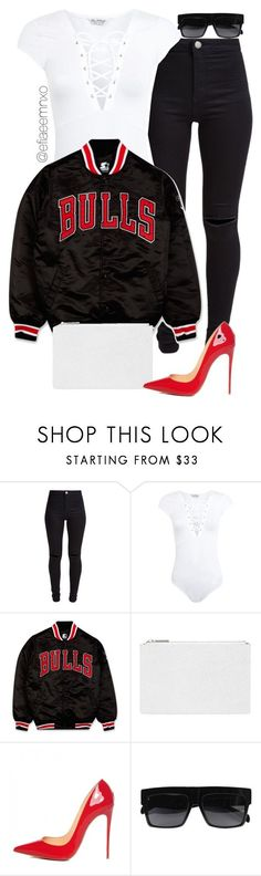 """Bulls"" by efiaeemnxo ❤ liked on Polyvore featuring New Look, Miss Selfridge, Starter, Whistles, Christian Louboutin, women's clothing, women, female, woman and misses"