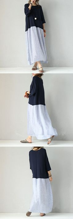 BUYKUD-New adrrival : Women mixed color stripe stitching loose pullover cotton linen dress.What do u think of this dress? soooo Bohemian style,Right? wanna have a vintage look?let's have a try!!! buyk (Mix Women Style)