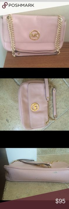 MK Fulton chain strap Shoulder bag Re-post bought here used with some wear...I never used it myself...Bag is beautiful blush pink color...I decided I want to buy new like this..please see pictures of the wear.. Ink stains.            Open to trade Michael Kors Bags