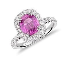 Cushion Pink Sapphire and Micropavé  Diamond Halo Ring in 18k White Gold (2.37 cts) #bluenile