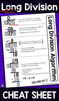 This long division reference sheet can help students with the steps of the long division algorithm. The free printable pdf can be enlarged into an anchor chart or slipped into a student math notebook. Anchor Charts, Division Anchor Chart, Division Algorithm, Math Division, Long Division Worksheets, Long Division Activities, Number Worksheets, Alphabet Worksheets, Kindergarten Worksheets