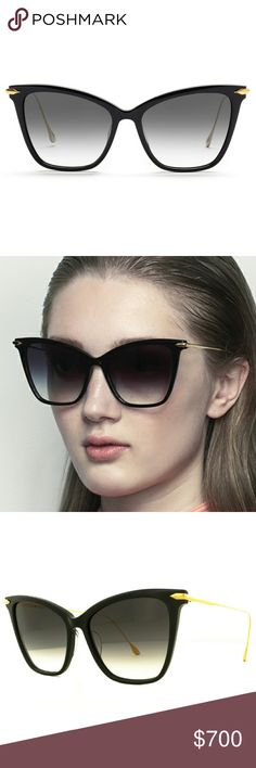 Dita 18k gold Cat eye sunglasses Dita black acetate sunglasses styled with 18k gold-plated titanium arms.  Oversized cat-eye shape. Transparent nose guards.?Grey gradient lenses. 100% UVA and UVB protection. 56mm eye size. 17mm bridge size. 147mm temple size. Acetate, 18k gold-plated titanium. Made in Japan. dita Accessories Sunglasses
