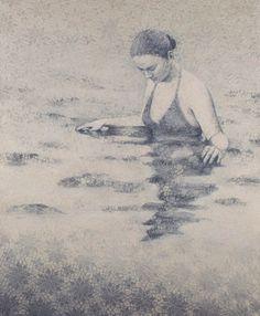 "Susan Hall, ""Surface"", oil on panel"