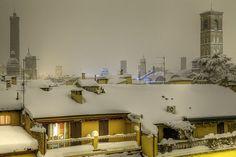 | ♕ | Bologna in snow, Italy | by © Tullio Dainese