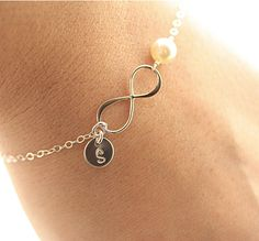Infinity Bracelet, Initial Bracelet, Sterling Silver Infinity Bracelet, Bridesmaids Bracelet, Dainty Pearl Bracelet, Personalized via Etsy