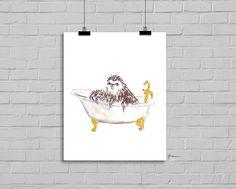 Bath Time Sloth Sloth in a Claw Foot Tub by Littlecatdraw on Etsy