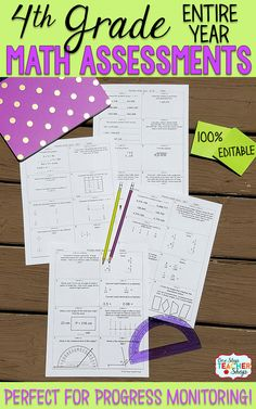Math Assessments or Quizzes for 4th Grade. These 4th Grade Math Quizzes are aligned with the common core math standards. These 4th Grade Math assessments can also be used as quick checks, spiral math review, and progress monitoring. Covers the Entire Year of 4th Grade Math and includes a pacing chart and answer keys.
