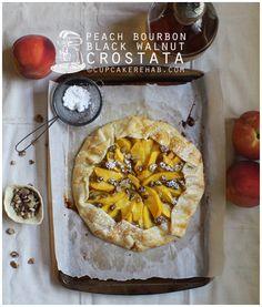 Peach bourbon black walnut crostata: the lazy woman's dessert.