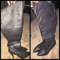 """NWOT. NEVER WORN. LEATHER BOOTS. KNEE HIGH 4"""" heel. Real leather. Brand new never worn. True to size. Regular fit. Side zipper. As shown. Shoes Heeled Boots"""
