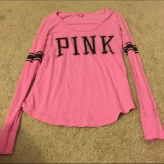 Pink long sleeve This shirt fits loose in good condition. Pink and black. PINK Victoria's Secret Tops Tees - Long Sleeve