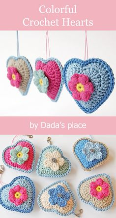 Baby Knitting Patterns Gifts Colorful crochet hearts made by Dada's place. Link to the free pattern.Crochet Pattern - Check this out now!Photos above © Dragana Savkov Bajic This crochet pattern / tutorial is available for free. Love Crochet, Crochet Gifts, Crochet Motif, Easy Crochet, Beautiful Crochet, Crochet Flower Patterns, Crochet Flowers, Crochet Hearts, Baby Knitting Patterns