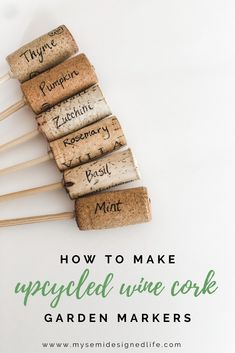 Easy Wine Cork Garden Markers Make these super easy and very cute garden and herb markers for your h Herb Labels, Garden Labels, Plant Labels, Diy Herb Garden, Vegetable Garden Markers, Garden Plant Markers, Easy Garden, Herb Markers, Wine Corks