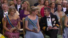 Koningin Maxima en Koningin Mathilde bij het huwelijk van prins Carl Philip van Zweden, 13 juni 2015