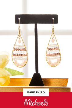 These Rose Gold Seed Bead Earrings are an easy-intermediate segue into seed bead crafting. The pinks and metallics make for a great pair of earrings that are both neutral and classy! Diy Jewelry Rings, Wire Jewelry Designs, Seed Bead Jewelry, Seed Bead Earrings, Diy Jewelry Making, Diy Earrings, Jewelry Patterns, Cute Jewelry, Jewelry Crafts