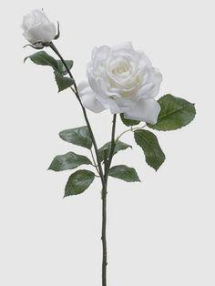 "Classic white wedding FSR425-WH                                                         20.5"" Open Rose Spray w/Bud"
