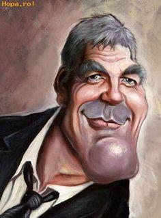 Caricaturas de famosos de hollywood George Clooney