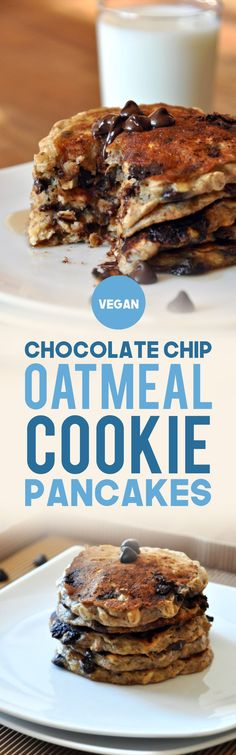 Chocolate Chip Oatmeal Cookie Pancakes Easy, Vegan Pancakes that taste just like an oatmeal chocolate chip cookie! Butter- and refined sugar-free. Pancakes Végétaliens, Vegan Pancakes, Oatmeal Pancakes Easy, Baker Recipes, Dessert Recipes, Keto Desserts, Oatmeal Chocolate Chip Cookies, Chocolate Pancakes, Vegan Oatmeal Cookies