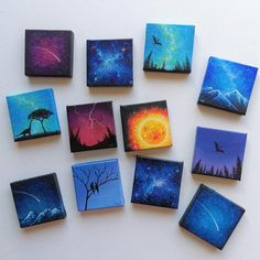 I'm trying to keep myself busy and distracted by painting. Each one is made on a inch canvas with acrylic Small Canvas Paintings, Easy Canvas Art, Small Canvas Art, Easy Canvas Painting, Mini Canvas Art, Mini Paintings, Diy Painting, Diy Canvas, Drawing On Canvas