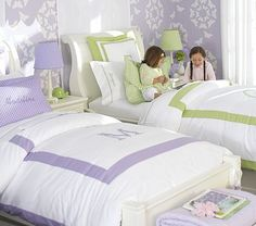 Soft shades of purple and green are ideal when combined with white in this Pottery Barn Kids room. The personalized touches on the bedding makes this a dream shared bedroom for girls of all ages. Pottery Barn Kids, Purple Rooms, Purple Walls, Green Rooms, Shared Bedrooms, Little Girl Rooms, Girls Bedroom, Lilac Bedroom, Shared Kids Rooms