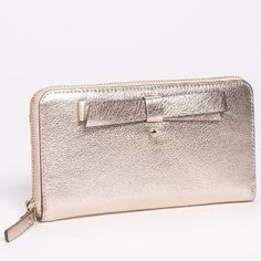 Kate Spade New York Rose Gold Hancock Park Lacey Leather Zip Wallet - Sale