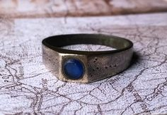 MEDIEVAL BRONZE RING.Blue stone.