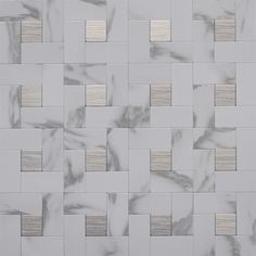 Instant Mosaic x Faux White Marble and Stainless Steel Versailles Mosaic Wall Tile Instant Mosaic tiles add a luxurious touch to your kitc… Metal Tile Backsplash, Mosaic Wall Tiles, Kitchen Backsplash, Backsplash Ideas, Peel Stick Backsplash, Kitchen Floors, Mosaics, Peel And Stick Tile, Stick On Tiles