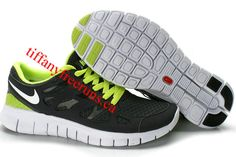 Mens Nike Free Run 2 Black Green White Shoes