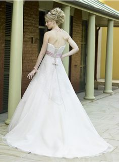 A-line/Sheath Strapless Sleeveless Beading/Appliques Empire Cathedral train Satin Wedding Dresses WE1784