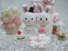 lovely rabbits cake topper.