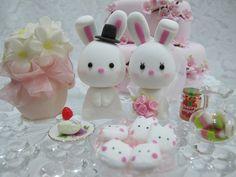 lovely rabbits cake topper.