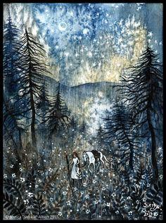 Parfum du Bois de Pins by Sieskja on DeviantArt Inspirational Artwork, Inspiring Art, Glitter Art, Watercolor Canvas, Witch Art, Horse Art, Fantasy Artwork, Whimsical Art, Conceptual Art