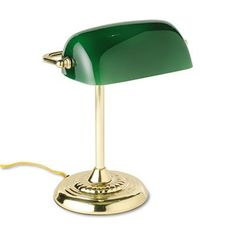 20% cut off Ledu L557BR Traditional Banker's Lamp, 14 High, Green Glass Shade, Brass Base