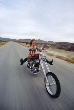 Ann-Margret riding a chopper outside of Las Vegas dressed like Wonder Woman in 1969.